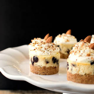 Almond Chocolate Chip Mini Cheesecakes.