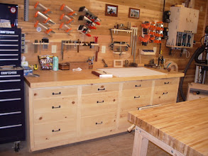 """Photo: The new top temporarily in place! Looks a helluva lot better than that plywood! Once the """"new"""" vise is ready, I'll install it and permanently mount the top to the bench."""