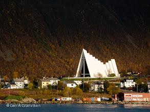 Photo: Tromsdalen church aka Ishavskatedralen (arctic cathedral) in Tromsø