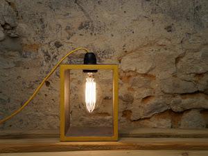 lampe vintage en béton couleur gris acer et jaune moutarde réalisation fait-main