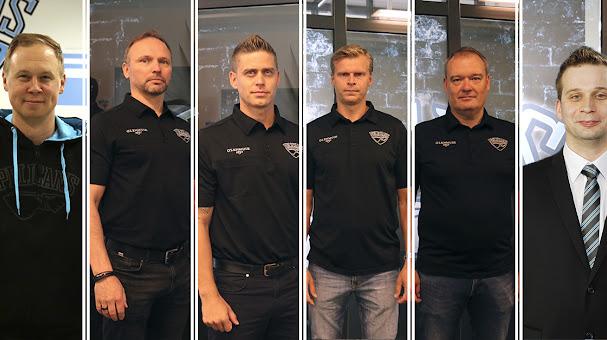 Pelicansin valmennusryhmä kaudella 2020-21: Tommi Niemelä, Tuomo Kärki, Juha Nakari, Jesse Welling, Jussi Silander ja Toni Pasuri.