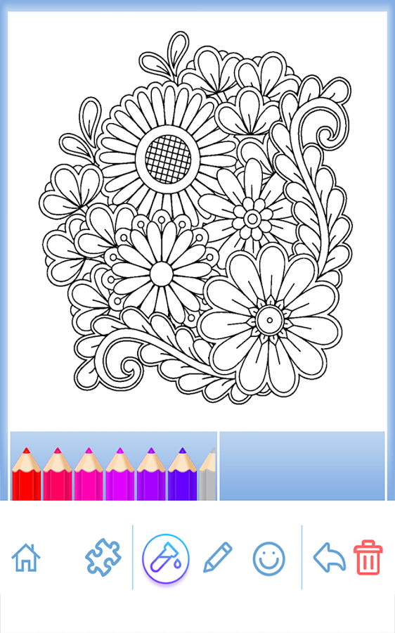 flowers mandala coloring book android apps on google play. Black Bedroom Furniture Sets. Home Design Ideas