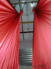Photo: One view I have during aerial yoga, usually at the end of class when we are relaxing and integrating the work we have done. I am lying inside the cloth. I love the color of this ribbon. I like to use a colorful ribbon cloth during the class.