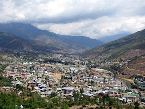 Photo: View of Thimphu town from Buddha Point.