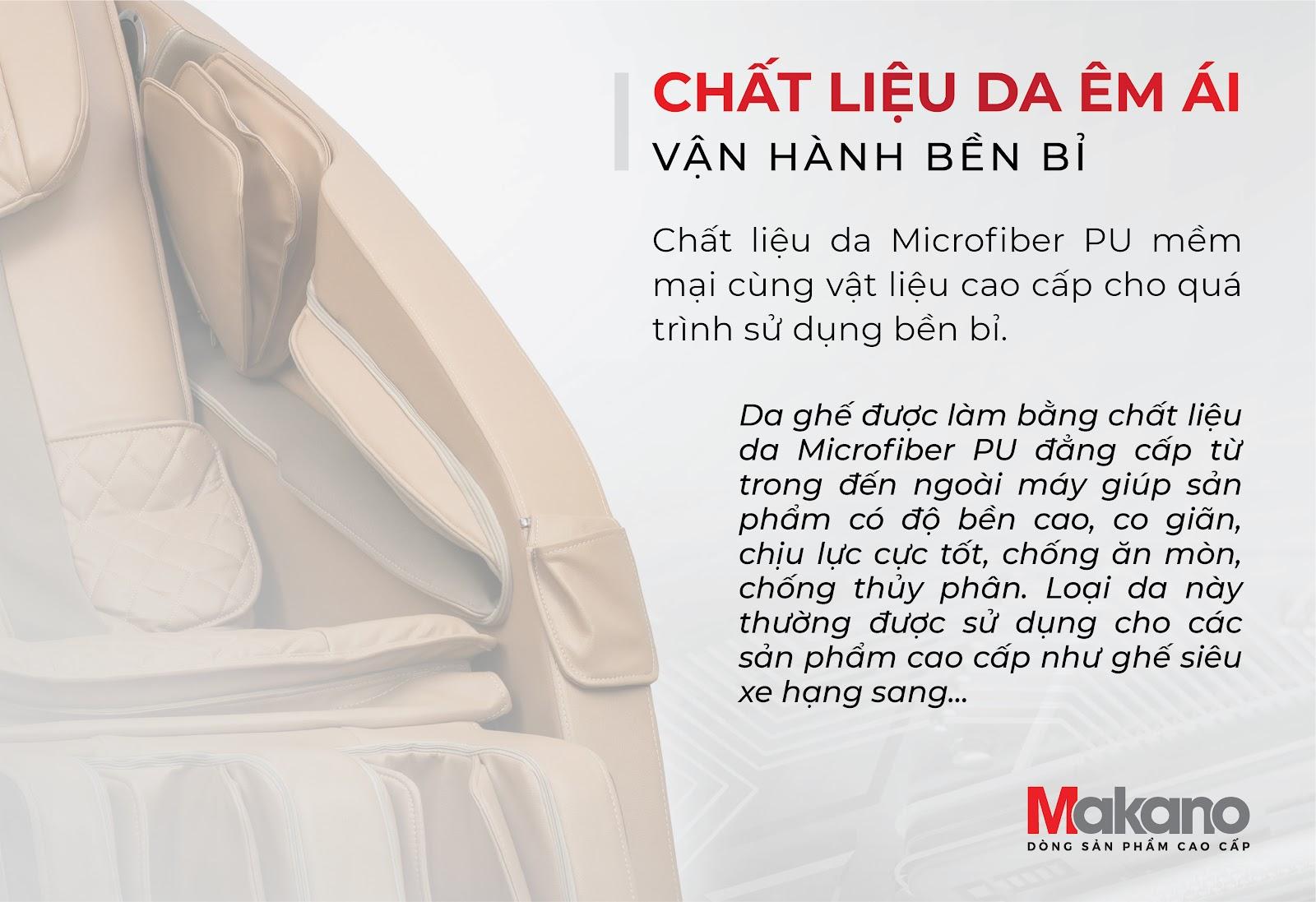 ghế massage  Makano sử dụng chất liệu, nguyên liệu cao cấp