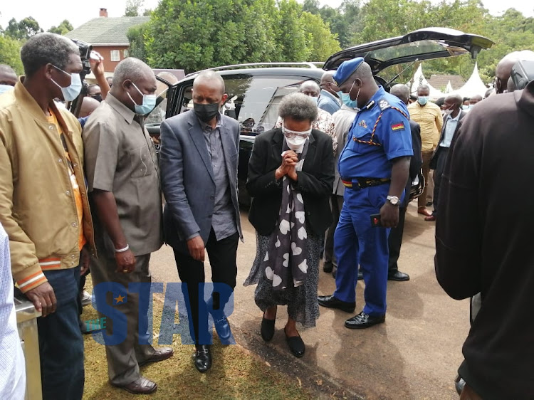 Simon Nyachae's widow Grace and son Lee./ANGWENYI GICHANA
