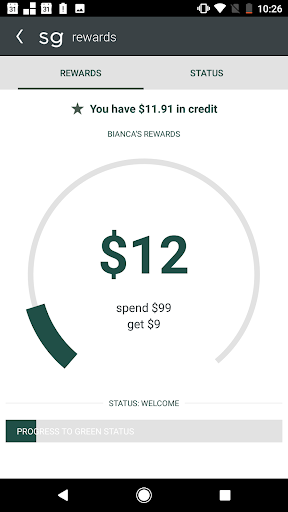 sweetgreen rewards screenshot