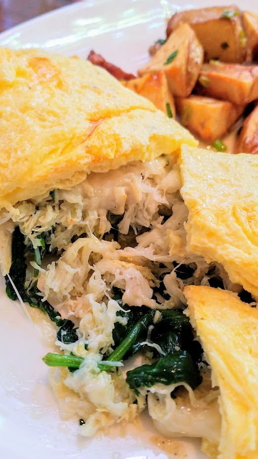 Headwaters Brunch - Dungeness Crab Omelette with gruyere, spinach, and breakfast potatoes