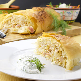 Krautstrudel (German Cabbage and bacon roll).