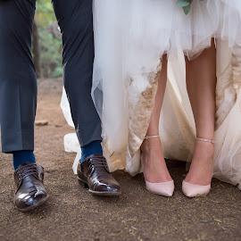 Wedding Feet by Giselle Hammond - Wedding Bride & Groom ( bride, feet, groom, bride and groom, humour, wedding, posing, photoshoot )