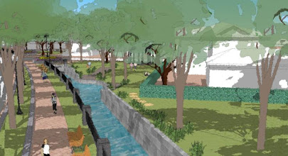 Photo: Streetworks Artist Rendition of 'daylighted' and 'relocated'  Town Brook,   viewed from Revere Rd  near Hancock St Source: Street-Works; publised in Patriot Ledger