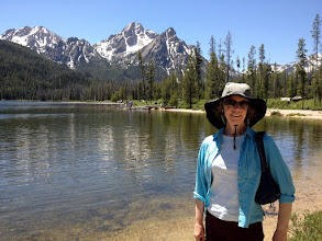 Photo: Anne at Stanley Lake with McGown Peak in the Background