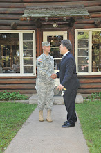 Photo: Lt. Col. Todd Kubista, Camp Ripley Deputy Post Commander exchanges a hand shake with United States Senator Al Franken, the Great State of Minnesota, upon the Senators departure from Camp Ripley on Aug 25, 2010.  Senator Franken made his trip to Camp Ripley to gain a better understanding of all things the facility has to offer for training the Guard and the various civilian agency partners Camp Ripley has. (photo by 1st Lt. Kenneth R. Toole, Camp Ripley Public Affairs Officer)