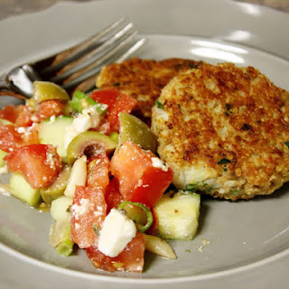 Cauliflower And Quinoa Burgers With Greek Salad