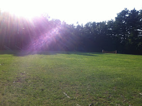 Photo: Looking back on Alumni Field from the path leading to Midget Field.