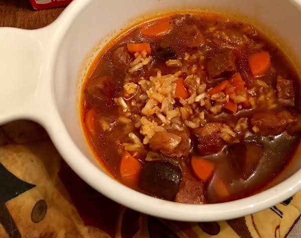 Beef & Brown Rice Soup Recipe