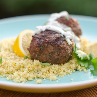 Grilled Moroccan Meatballs with Yogurt Sauce.