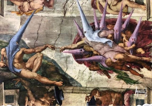 La creación de Adán, con los capirotes del artista sevillano.