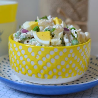 Basil, Chicken and Hard Boiled Egg Macaroni Salad.