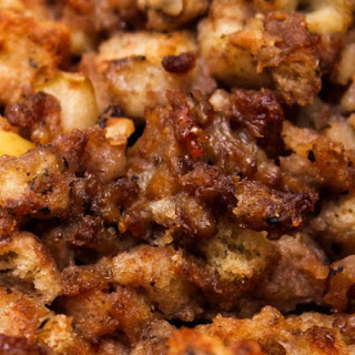 Slow Cooker Apple Sausage Stuffing.