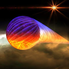 Lens Ball in Space by Ron Meyers - Digital Art Abstract