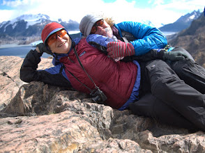 Photo: Liz and Kris keep out of the wind on a Gray Lake overlook
