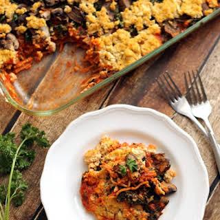 Baked Spaghetti with Kale, Mushrooms, & Tofu Ricotta.
