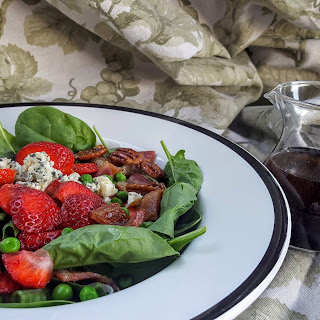 Spinach Salad with Sweet Peas, Strawberries, and Maple-Balsamic Vinaigrette