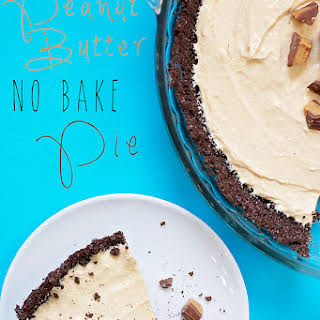 No Bake Peanut Butter Pie with Chocolate Graham Cracker Crust.