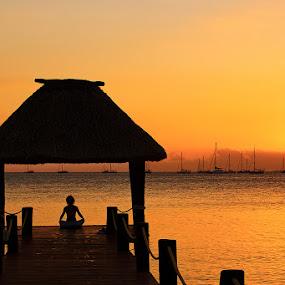 Sunset solitude by Rob Rickman - Landscapes Travel ( calm, orange, sunset, peace, yacht, pier, ocean, meditate, boat, yoga )