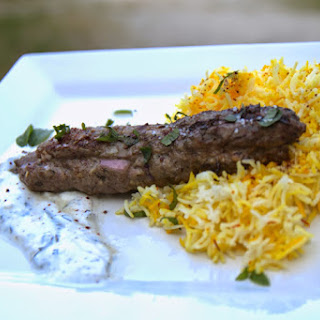Lamb Kabab with Mint Yogurt Sauce and Saffron Rice