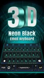[Download 3D Neon Hologram Black Keyboard Theme for PC] Screenshot 2