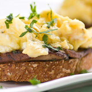 Garlicky Eggs with Mushrooms on Toast
