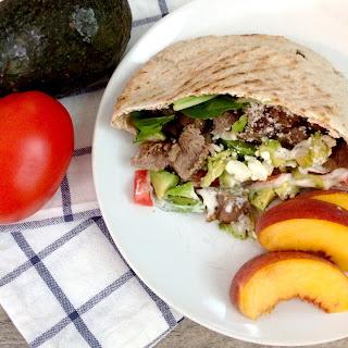 Steak, Avocado and Feta Pitas.