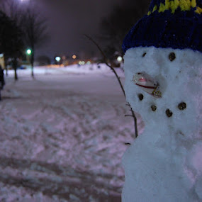 Snowmen in Sault Ste. Marie by Danielle DeBruler - Digital Art Things ( candy cane nose, winter, snow, snowman, freezing cold )