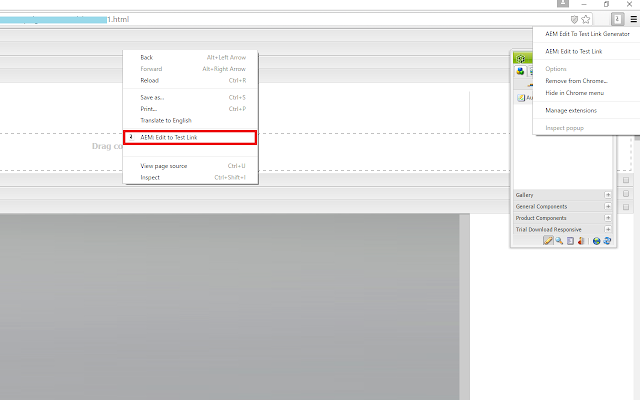 AEM Edit To Test Link Generator