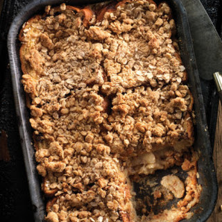 Cinnamon Raisin Banana French Toast Casserole with Oat Crumble