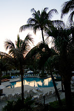 Photo: Hotel pool area during sunset