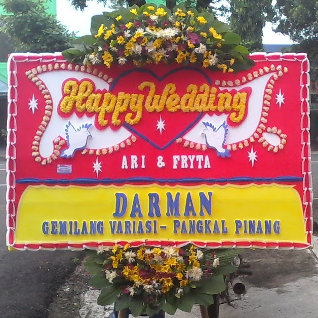 Bunga Papan Happy Wedding Bekasi