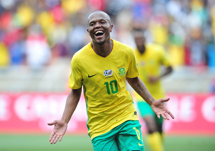 Thulani Serero of South Africa celebrates his goal during 2018 World Cup Qualifiers match between South Africa and Senegal at Peter Mokab Stadium, November on the 12 November 2016. File photo