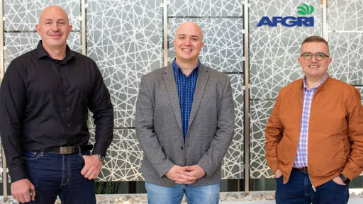 From left: Josua Taljaard, business unit manager: Commercial 2 at Datacentrix; Pierre Durand, head of IT and innovation, AFGRI Agri Services; and Rudie Raath, chief digital officer at Datacentrix