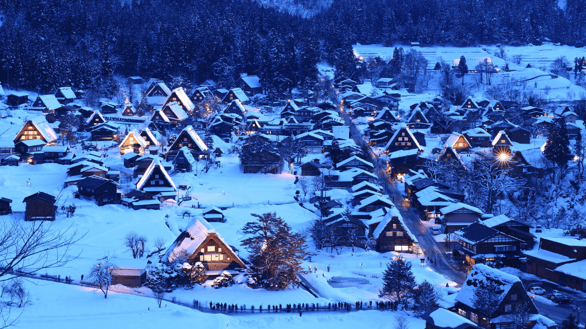 Winter in Shirakawago village in Gifu, Japan; a UNESCO World Heritage Site