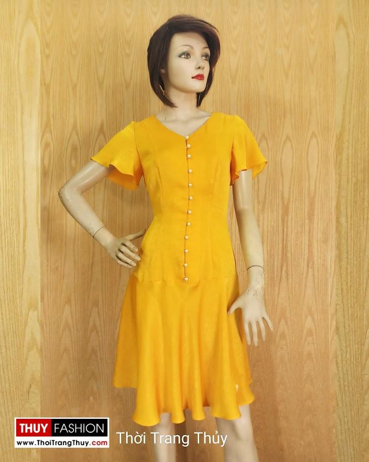 Váy xoè tay loe vải lụa màu vàng V687 thời trang thuỷ hải phòng