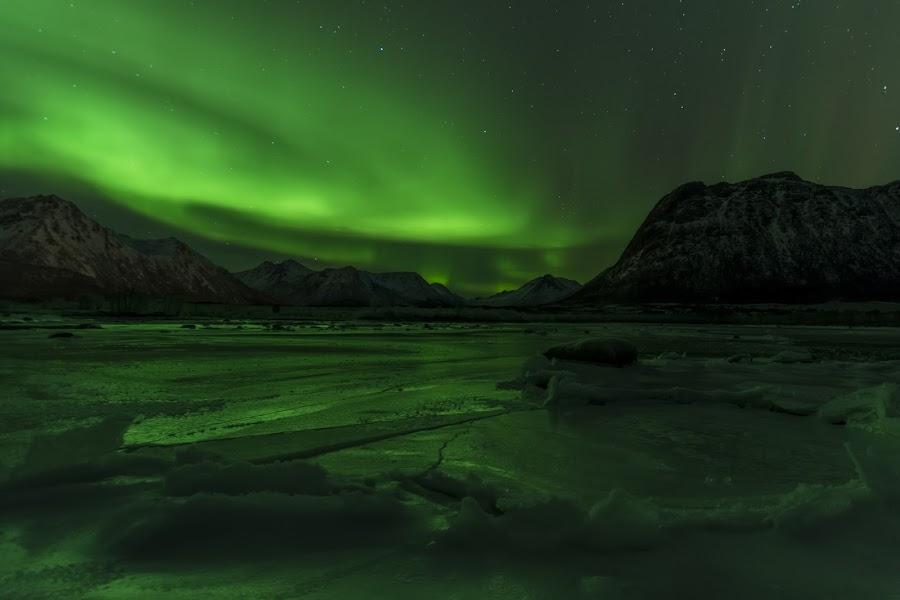 Aurora by Jens Andre Mehammer Birkeland - Landscapes Mountains & Hills ( reflection, winter, ice, northern lights, aurora borealis,  )