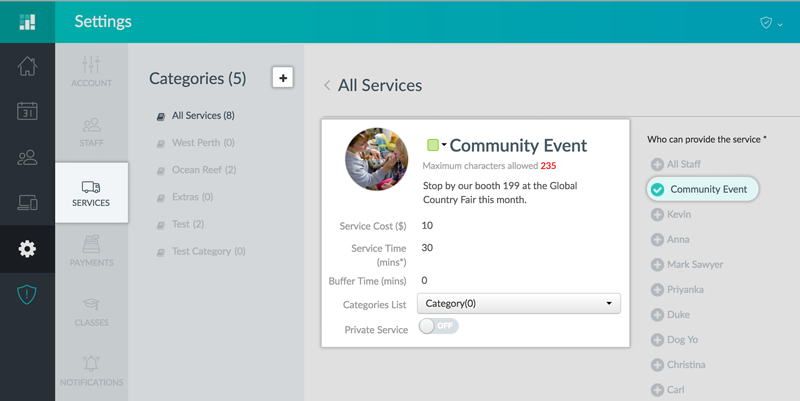 Creating Service for a one-time event in Setmore