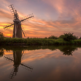 Turf Fen Drainage Mill2 by Lester Woodward - Landscapes Sunsets & Sunrises ( toprint, sunset, sergeramelli, how hill, windmill )