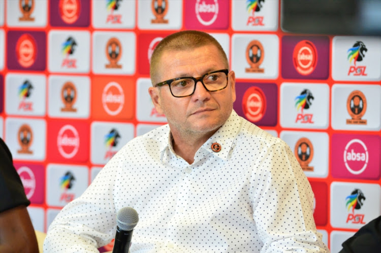 Jozef Vukusic coach of Polokwane City during the Absa Premiership Polokwane derby press conference at Peter Mokaba Stadium on August 16, 2018 in Polokwane, South Africa.