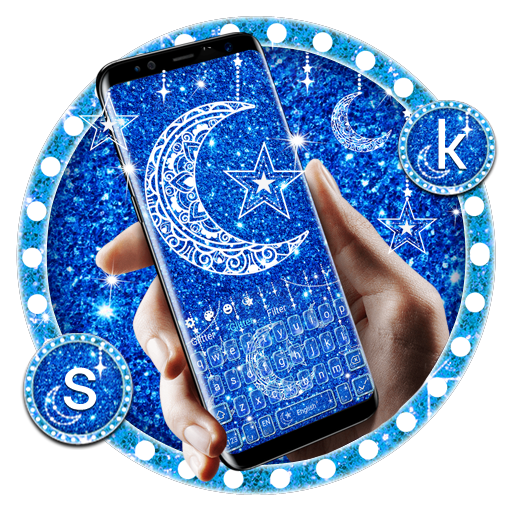 Blue Glitter Moon Keyboard Android APK Download Free By Jessie Keyboard Theme