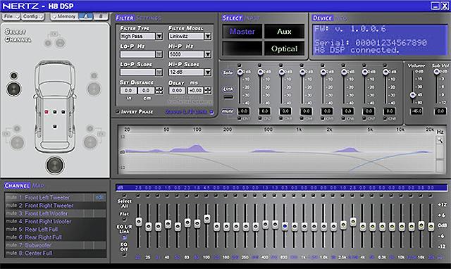 Interfaz de usuario de software del DSP HERTZ H8