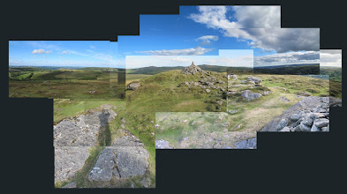 Photo: Spectacular views across towards Hound Tor (left) and Haytor (centre distance); Chinkwell Tor.